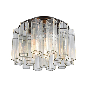 Cubic Glass Oil Rubbed Bronze Three-Light Flush Mount