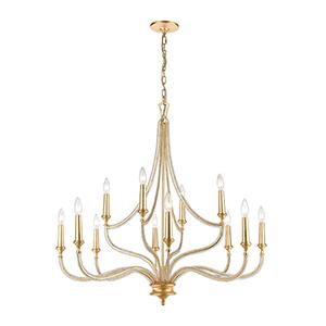 La Rochelle Parisian Gold Leaf 12-Light Chandelier