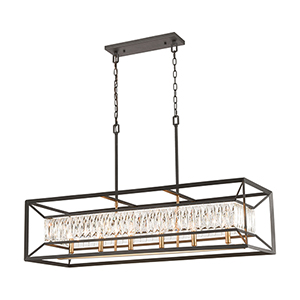 Starlight Charcoal, Satin Brass Six-Light Pendant