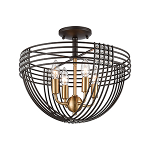 Oil Rubbed Bronze and Satin Brass Four-Light Semi Flush Mount