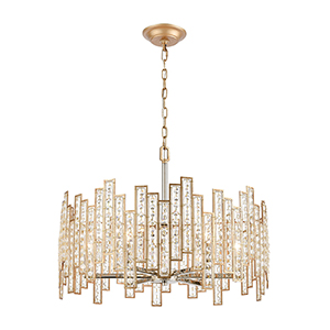 Equilibrium Matte Gold and Polished Nickel Six-Light Pendant