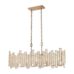 Equilibrium Matte Gold and Polished Nickel Five-Light 34-Inch Pendant With Clear Crystal