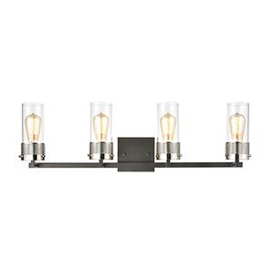 Bergenline Matte Black and Polished Nickel Four-Light Vanity Light