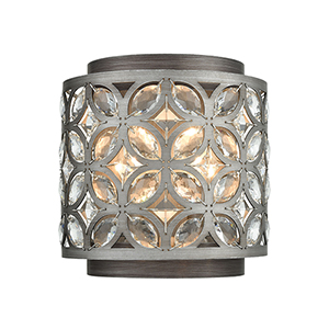 Rosslyn Weathered Zinc and Matte Silver Two-Light Wall Sconce