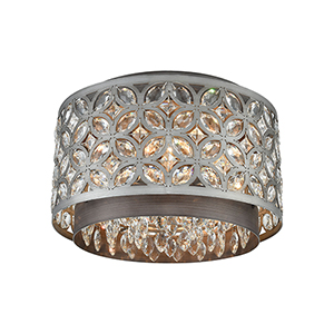 Rosslyn Weathered Zinc and Matte Silver Four-Light Flush Mount
