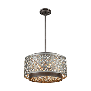 Rosslyn Weathered Zinc and Matte Silver Five-Light Pendant