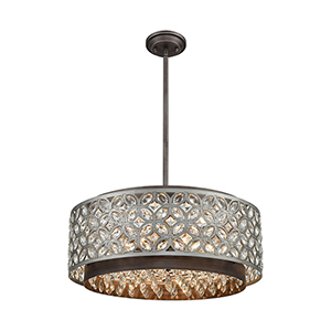 Rosslyn Weathered Zinc and Matte Silver Six-Light Pendant