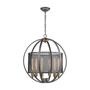 Ellicott Weathered Zinc and Satin Brass Six-Light Pendant