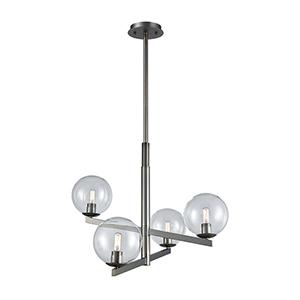 Globes of Light Brushed Black Nickel Four-Light Chandelier