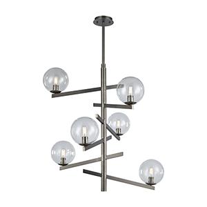 Globes of Light Brushed Black Nickel 34-Inch Six-Light Chandelier