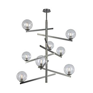 Globes of Light Brushed Black Nickel Eight-Light Chandelier