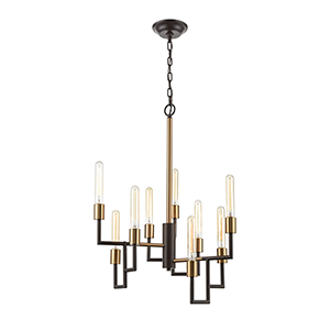 Congruency Oil Rubbed Bronze and Satin Brass Nine-Light Chandelier