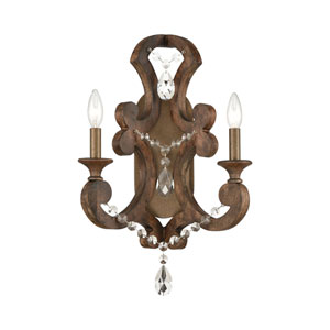San Sebastian Spanish Antiquewood and Dark Bronze Two-Light Wall Sconce