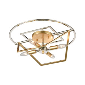 Geosphere Polished Nickel and Parisian Gold Leaf Four-Light Semi Flush Mount