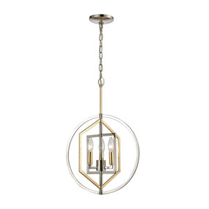 Geosphere Polished Nickel and Parisian Gold Leaf Three-Light Chandelier