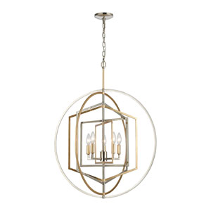 Geosphere Polished Nickel and Parisian Gold Leaf Five-Light Chandelier