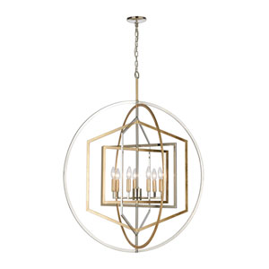 Geosphere Polished Nickel and Parisian Gold Leaf Seven-Light Chandelier
