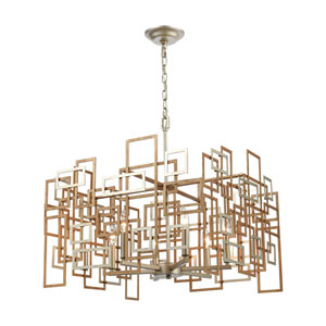Gridlock Matte Gold and Aged Silver Six-Light Chandelier