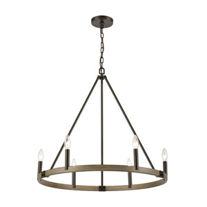 Transitions Oil Rubbed Bronze and Aspen Six-Light Chandelier