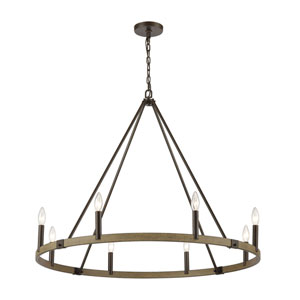 Transitions Oil Rubbed Bronze and Aspen Eight-Light Chandelier