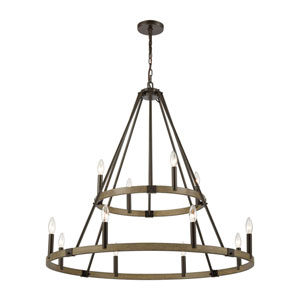 Transitions Oil Rubbed Bronze and Aspen 36-Inch 12-Light Chandelier