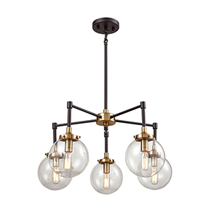 Boudreaux Matte Black and Antique Gold Five-Light Chandelier