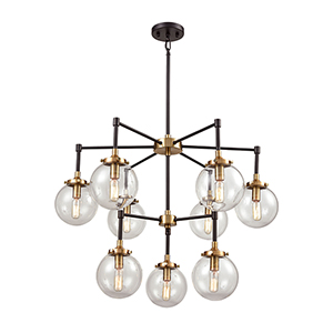 Boudreaux Matte Black and Antique Gold Nine-Light Chandelier