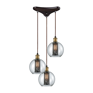 Bremington Oil Rubbed Bronze and Tarnished Brass 60W Three-Light Pendant