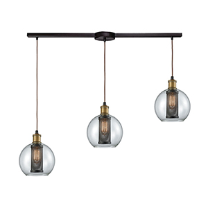 Bremington Oil Rubbed Bronze 36-Inch Three-Light Pendant with Clear Round Glass With Perforated Metal Cage