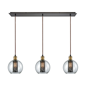 Bremington Oil Rubbed Bronze 36-Inch Three-Light Pendant with Clear Glass With Perforated Metal Cage