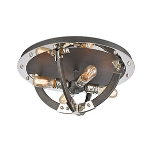 Riveted Plate Silverdust Iron and Polished Nickel Four-Light Flush Mount