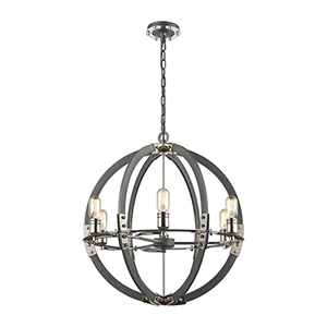 Riveted Plate Silverdust Iron and Polished Nickel Six-Light Pendant