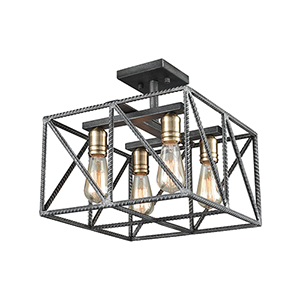 Crossbar Silverdust Iron and Satin Brass Four-Light Semi-Flush Mount