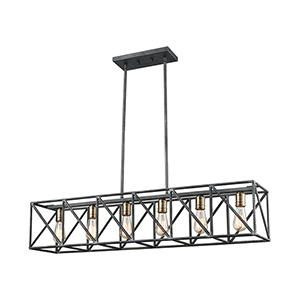 Crossbar Silverdust Iron and Satin Brass Six-Light Island Pendant