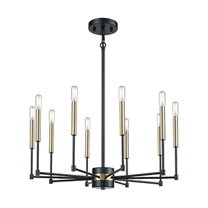 Livingston Matte Black and Satin Brass 10-Light Chandelier