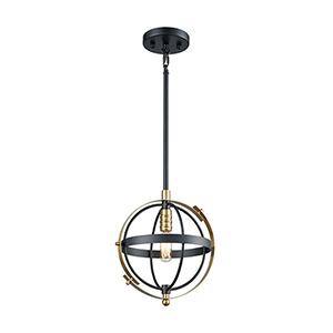 Caldwell Matte Black and Satin Brass One-Light Mini Pendant