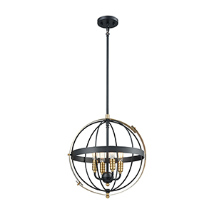 Caldwell Matte Black and Satin Brass Four-Light Pendant