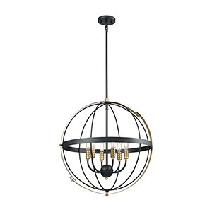Caldwell Matte Black and Satin Brass Six-Light Pendant