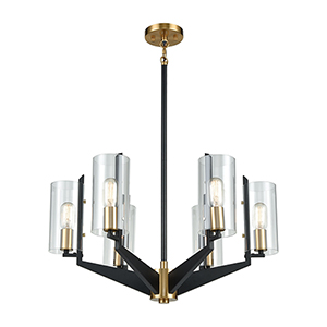 Blakeslee Matte Black and Satin Brass Six-Light Chandelier