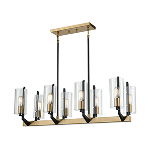 Blakeslee Matte Black and Satin Brass Eight-Light Island Pendant