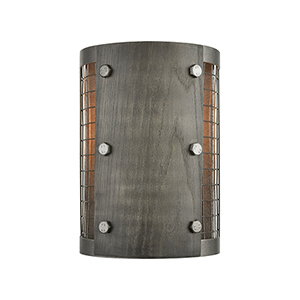 Halstead Ash Gray and Dark Gray Wood One-Light Wall Sconce
