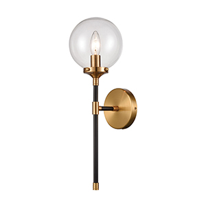 Boudreaux Matte Black and Antique Gold One-Light Wall Sconce