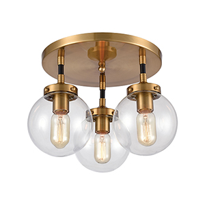Boudreaux Matte Black and Antique Gold Three-Light Semi Flush Mount
