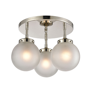 Boudreaux Polished Nickel Three-Light Semi Flush Mount
