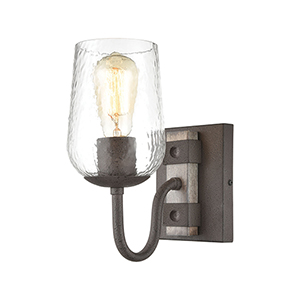 Dillon Vintage Rust and Colonial Maple One-Light Vanity Light