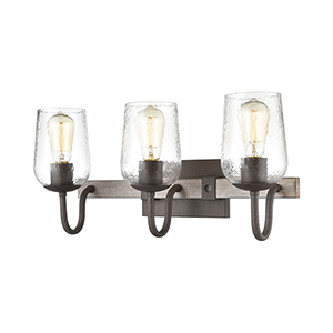 Dillon Vintage Rust and Colonial Maple Three-Light Vanity Light