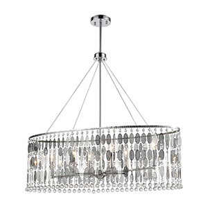 Chamelon Polished Chrome Six-Light Pendant With Clear Crystal