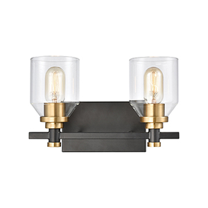 Cambria Matte Black and Satin Brass Two-Light Vanity Light