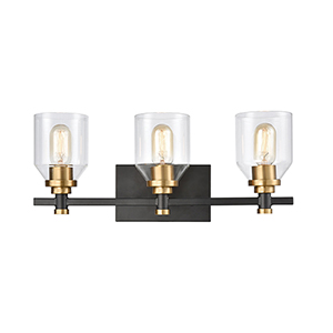 Cambria Matte Black and Satin Brass Three-Light Vanity Light