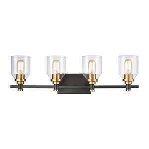Cambria Matte Black and Satin Brass Four-Light Vanity Light